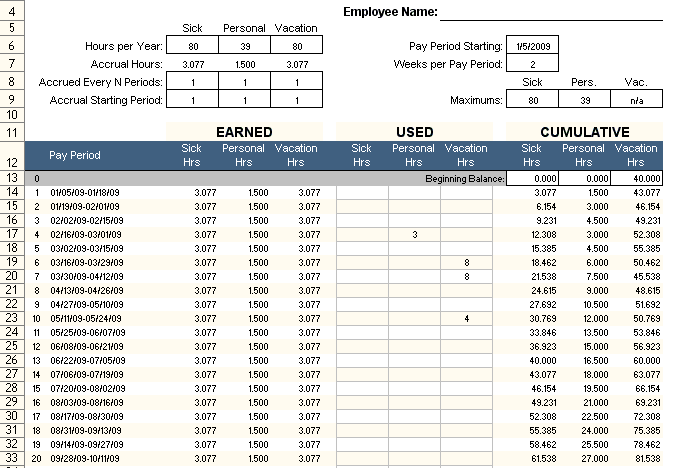 Employee PTO Tracker Excel Template