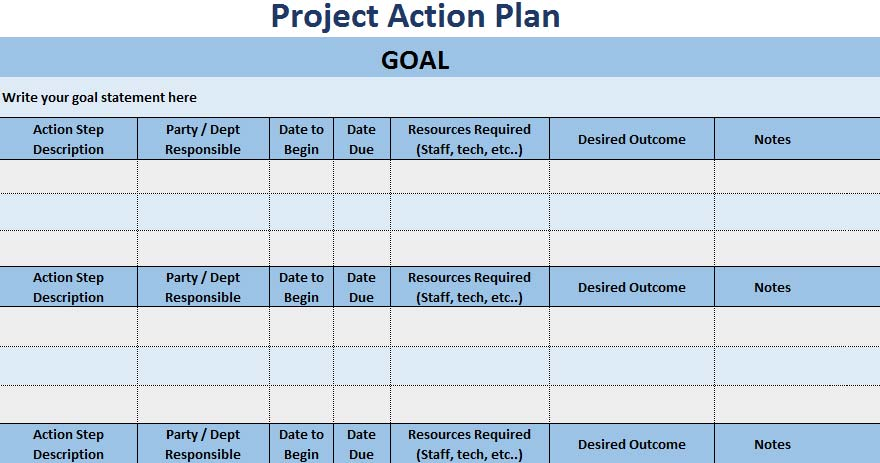 3 free project action plan template xls free excel for Creating a project plan template