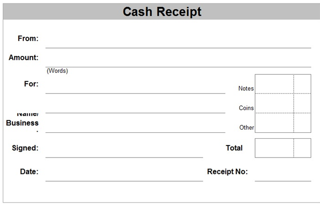 cash payment format in excel