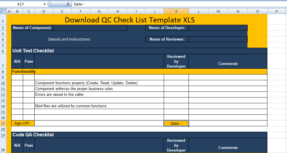 QC Check List Template XLS