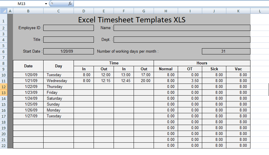 Free Excel Timesheet Templates XLS