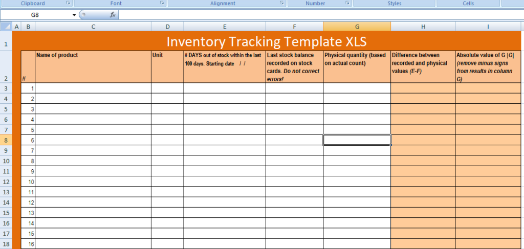 free excel inventory tracking template xls
