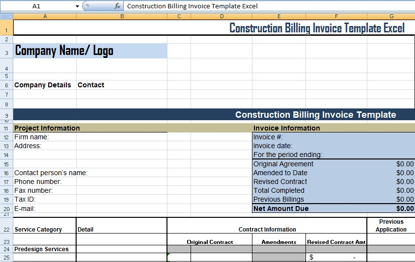 Construction Billing Invoice Template Excel