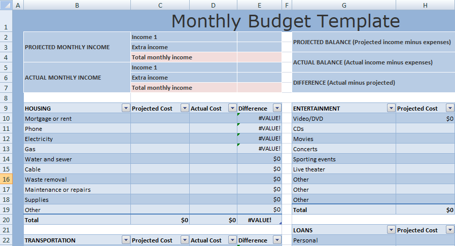 Excel Monthly Budget Template XLS