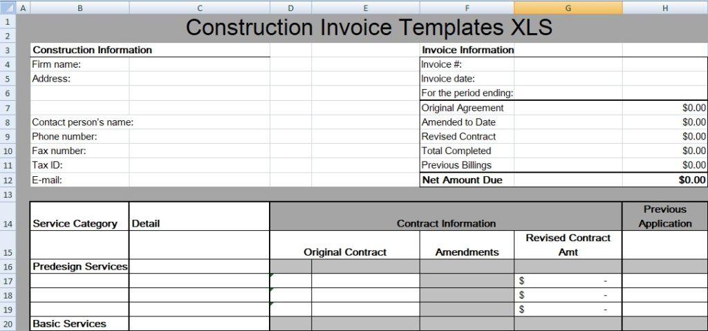 Construction Invoice Templates
