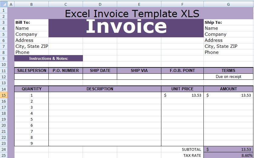Excel Invoice Template Xls Free Free Excel Spreadsheets And Templates