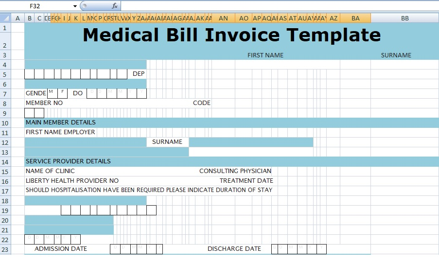 Medical Bill Invoice Template Xls Free Excel Spreadsheets