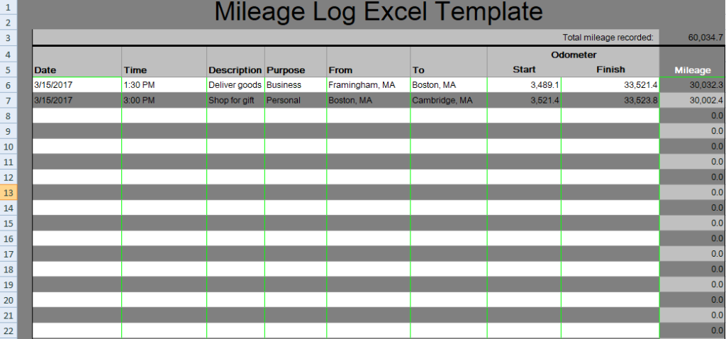 mileage tracker excel template