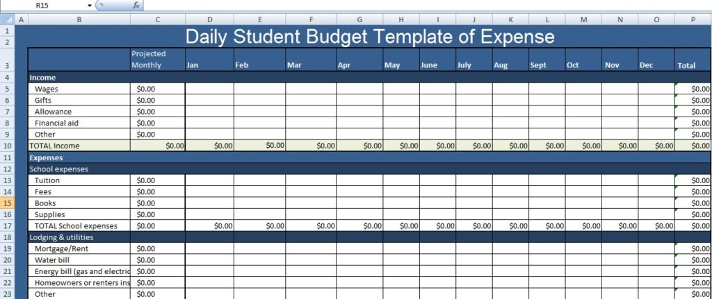 student budget template excel