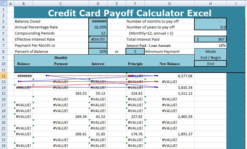 Credit Card Payoff Calculator Excel