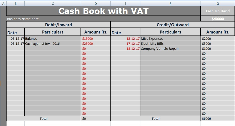 Cash Book With Vat Excel Template