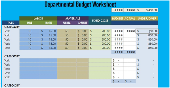 Departmental Budget Worksheet Excel