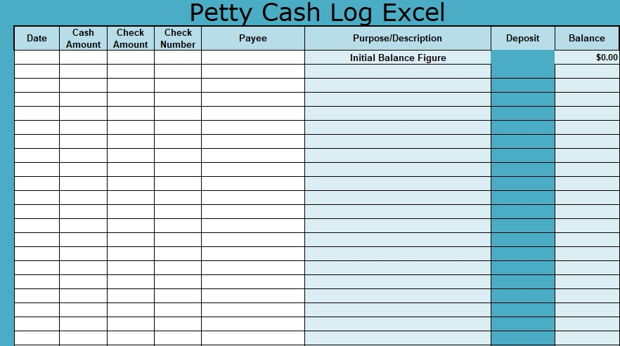 photo about Petty Cash Log Printable named Petty Funds Log Excel Obtain XLStemplates