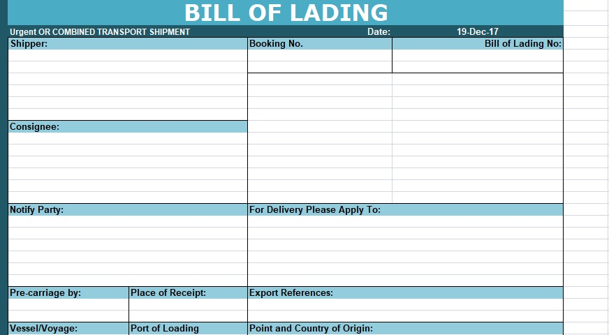 Download Bill of Lading Template