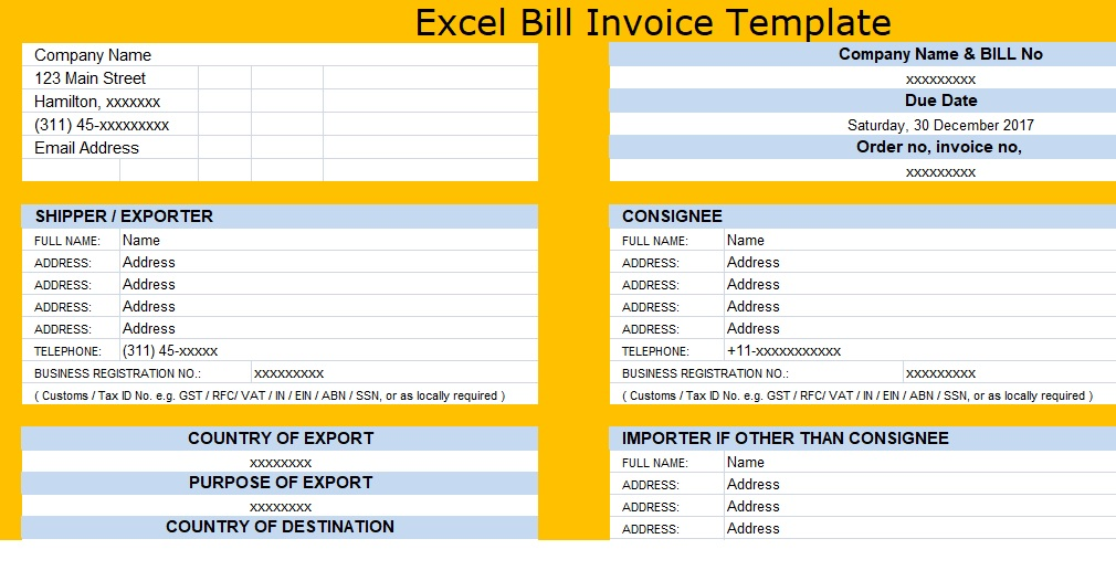 Download Excel Bill Invoice Template