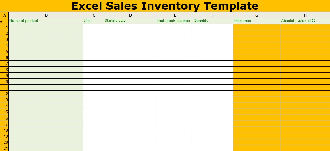 Excel Sales Inventory Template Free