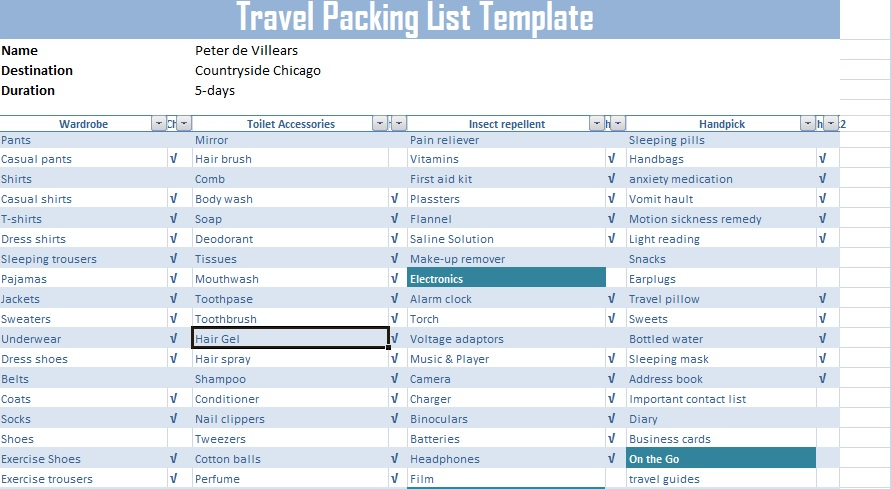 Travel Packing List Template Free Free Excel Spreadsheets And Templates