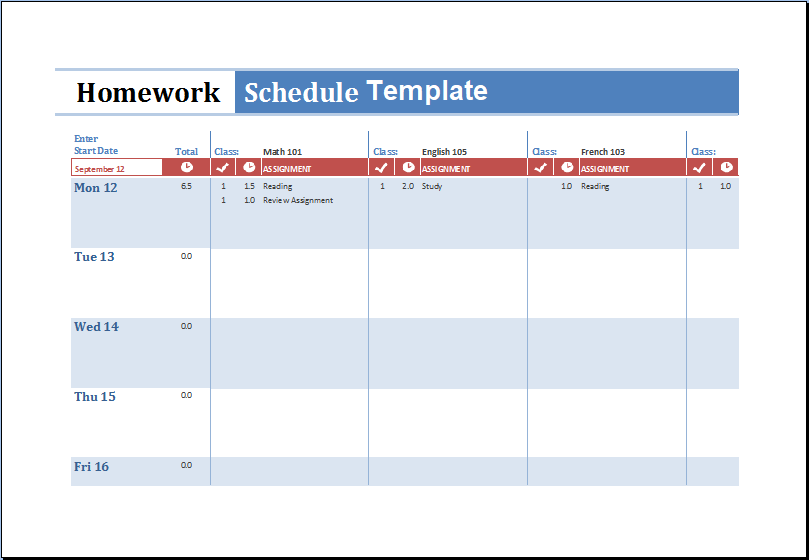 Homework Schedule Template Excel
