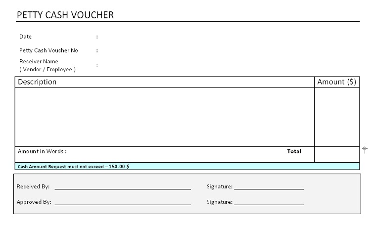 Petty Cash Voucher Format