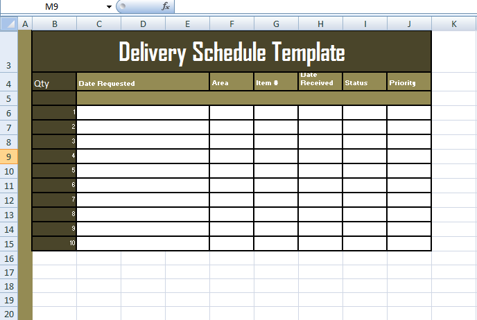 delivery schedule template excel