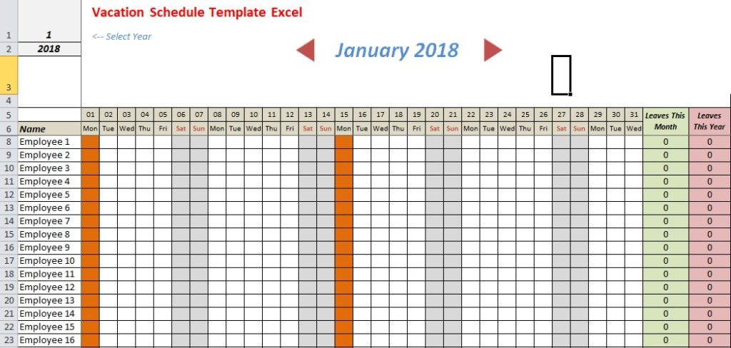 Vacation Schedule Template Excel Download